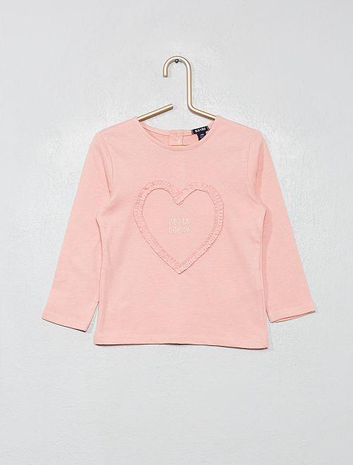 T-shirt 'cœur'                                                                 rose