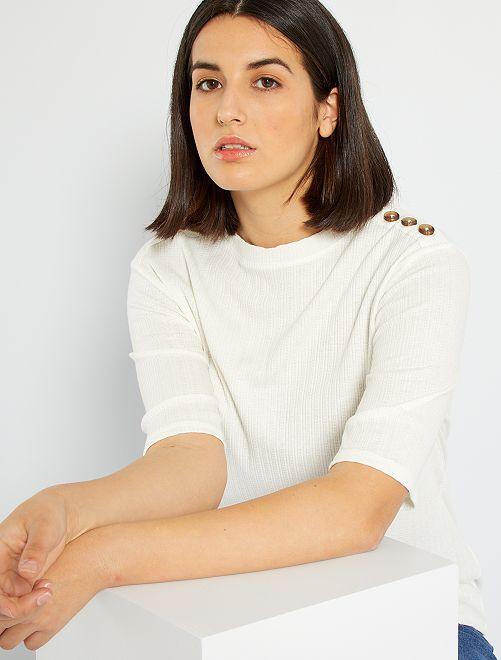 T-shirt col boutonné                     blanc