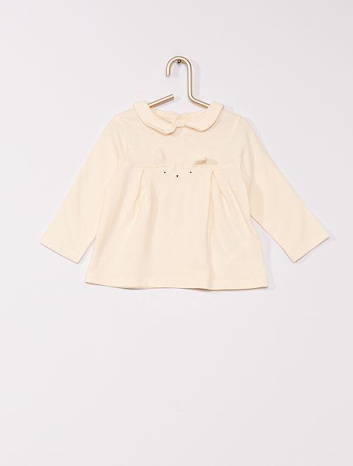 T-shirt col Claudine 'éco-conçu'                     ecru