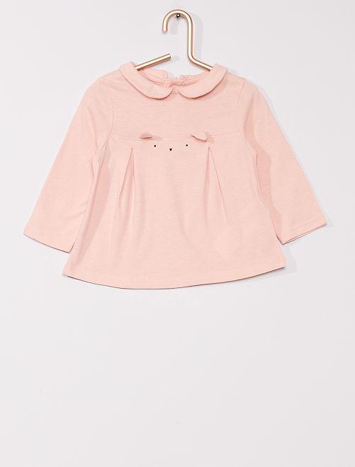 T-shirt col Claudine 'éco-conçu'                                 rose clair