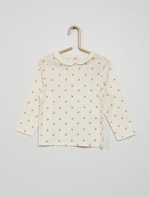 T-shirt col claudine imprimé 'cerises'                                                                             écru cerises