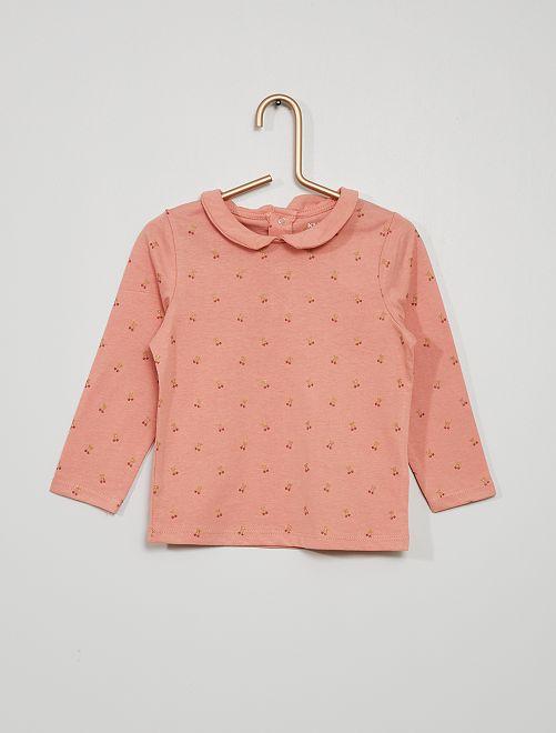T-shirt col claudine imprimé 'cerises'                                                                             rose cerises