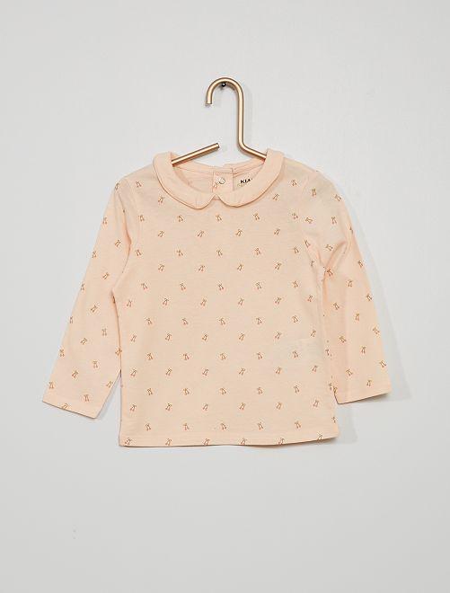 T-shirt col claudine imprimé 'cerises'                                                                             rose pastel cerises
