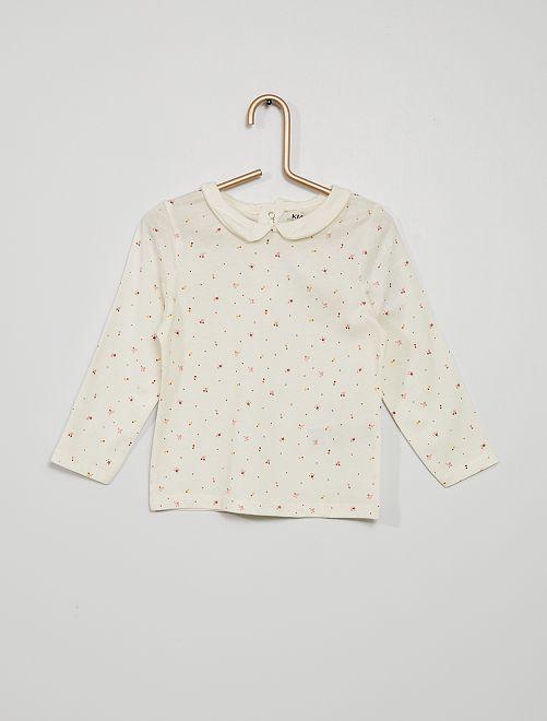 T-shirt col claudine imprimé 'petites fleurs'                                                                             écru fleurs