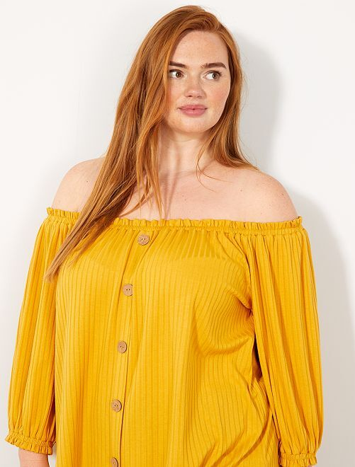 T-shirt col et bas de manches froncés                                         jaune Grande taille femme