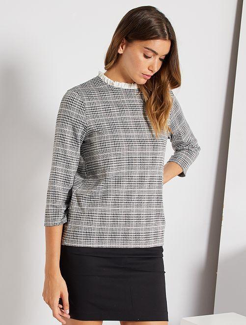 T-shirt col froncé                                                     carreaux blanc/noir