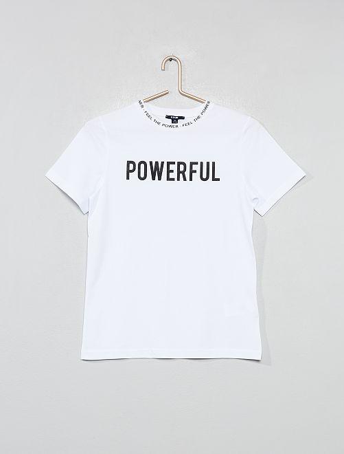 T-shirt col imprimé                                         blanc