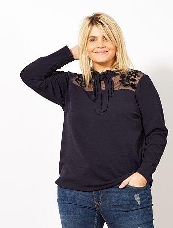 Grande taille femme - T-shirt col lavallière - Kiabi