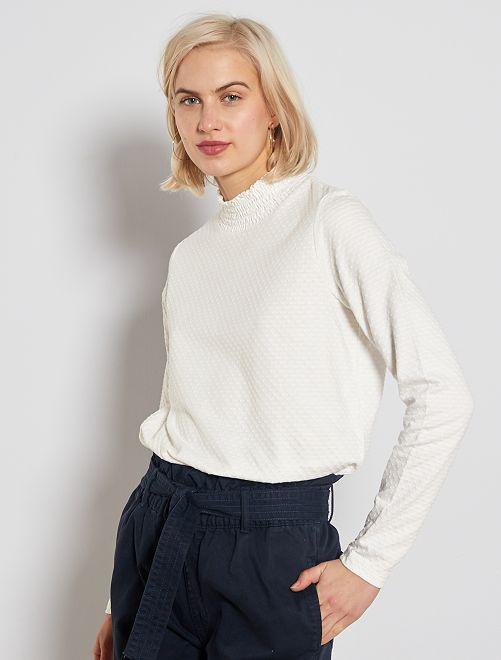 T-shirt col montant à pois                                                                 blanc