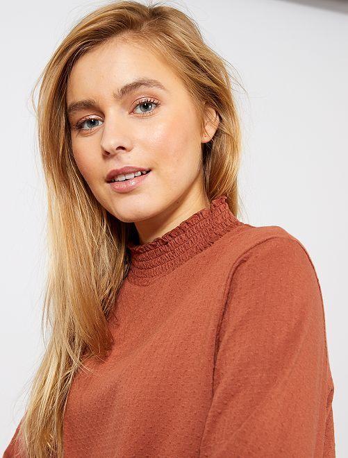 T-shirt col montant à pois                                                                 marron