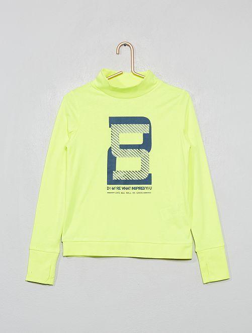 T-shirt col montant imprimé                                                     jaune fluo