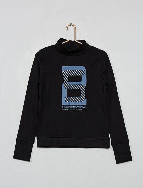 T-shirt col montant imprimé                                                     noir