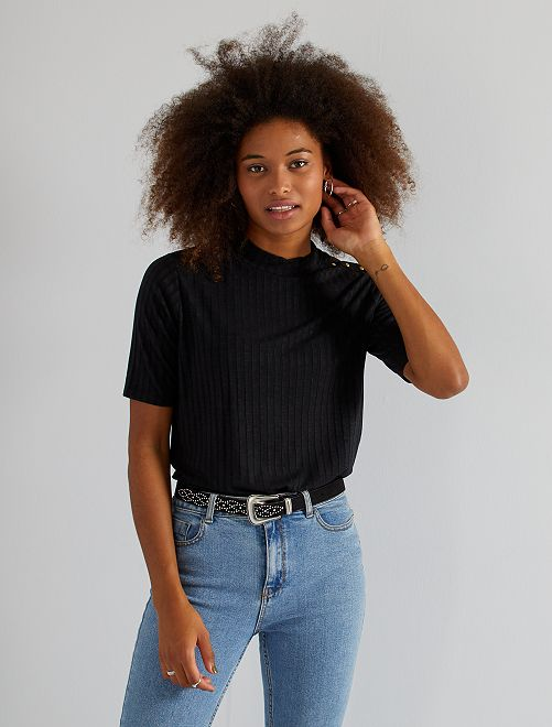 T-shirt col montant                                         noir