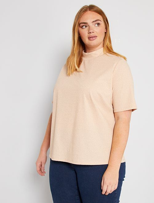 T-shirt col montant                                                                 rose