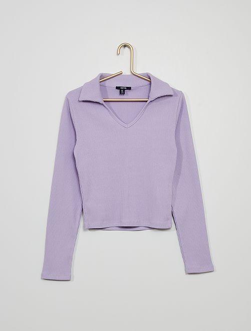 T-shirt col polo maille côtelée                                         lilas