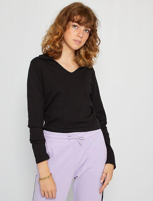 T-shirt col polo maille côtelée                                         noir