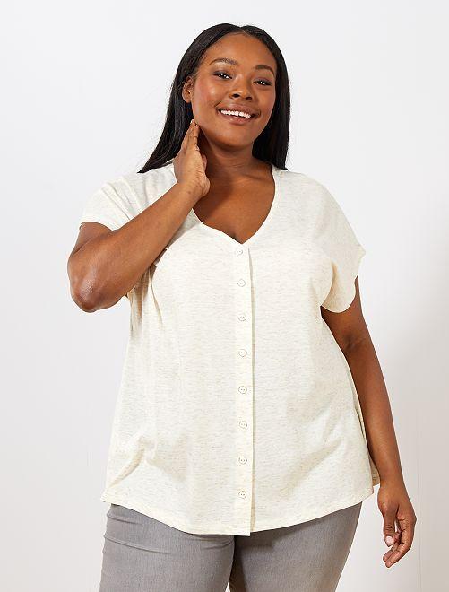 T-shirt col réversible                                 blanc