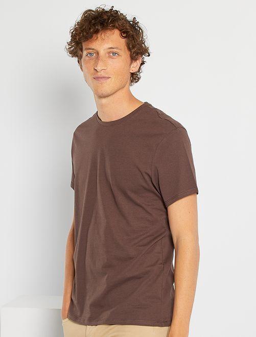 T-shirt col rond                                                                                                                                                                                         marron foncé
