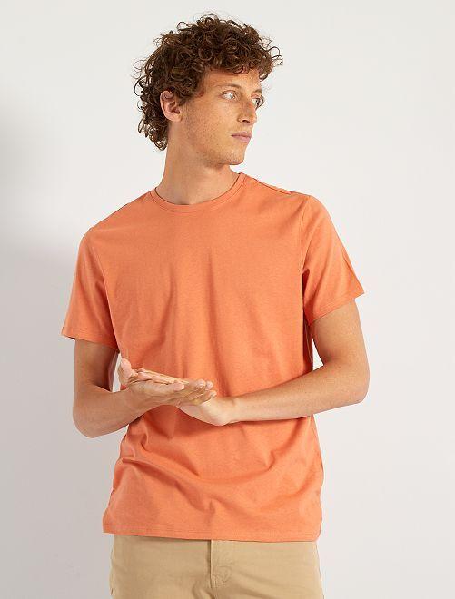 T-shirt col rond                                                                                                                                                                                         orange pâle