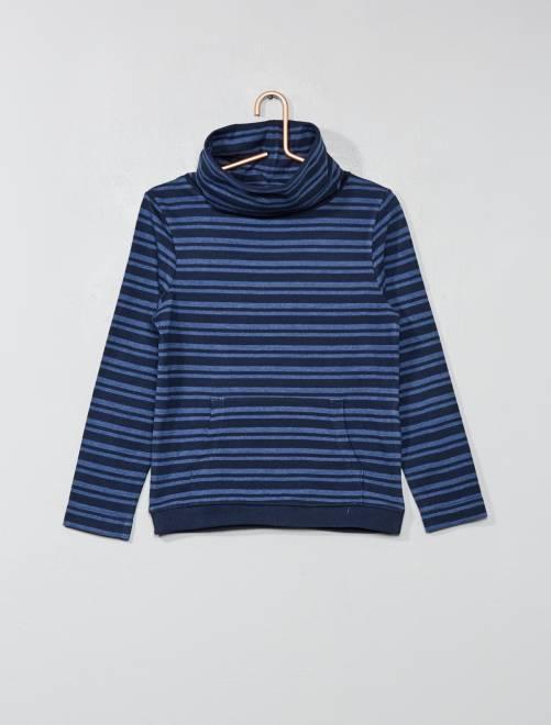 T-shirt col tubulaire                                 bleu rayé Garçon