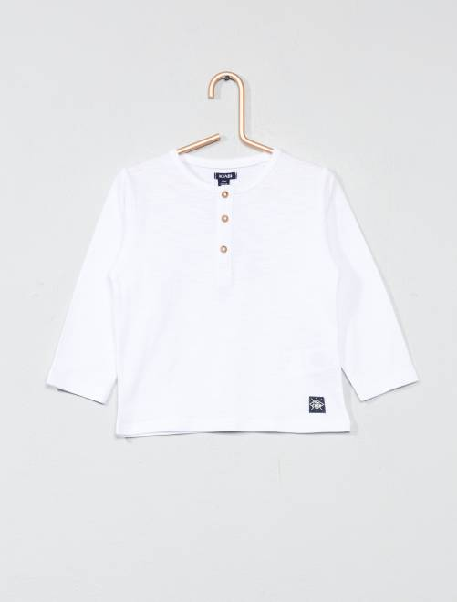 T-shirt col tunisien                                         blanc Bébé garçon