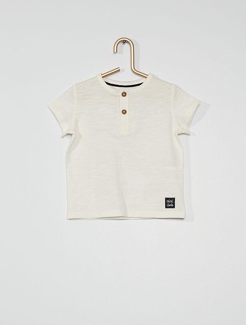 T-shirt col tunisien                                                                                                                                                                 blanc