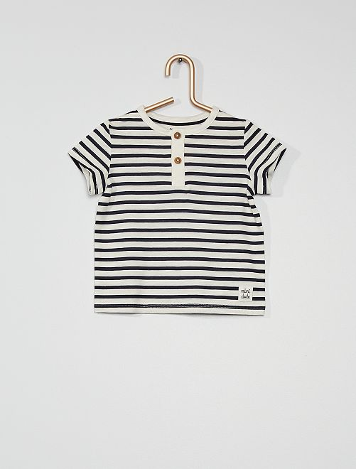T-shirt col tunisien                                                                                                                                                     blanc bleu