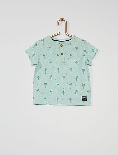 T-shirt col tunisien                                                                                                                                                                             bleu