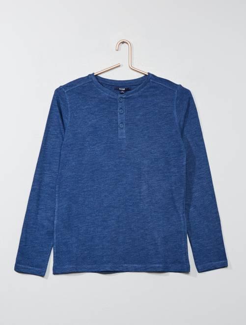 T-shirt col tunisien                                                     bleu foncé