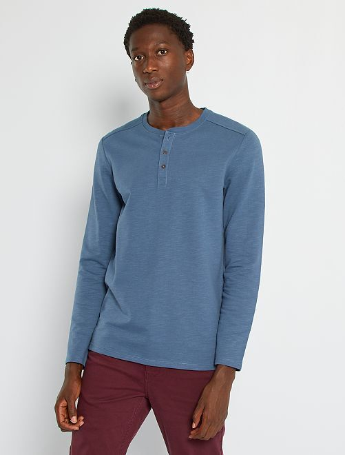 T-shirt col tunisien                                                     bleu gris