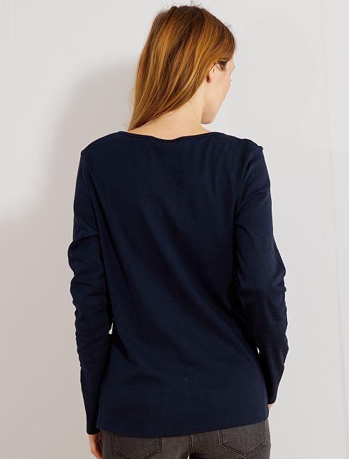 t shirt col tunisien femme bleu marine kiabi 6 00. Black Bedroom Furniture Sets. Home Design Ideas