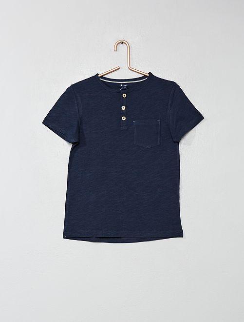 T-shirt col tunisien                                                                                                         bleu marine Garçon