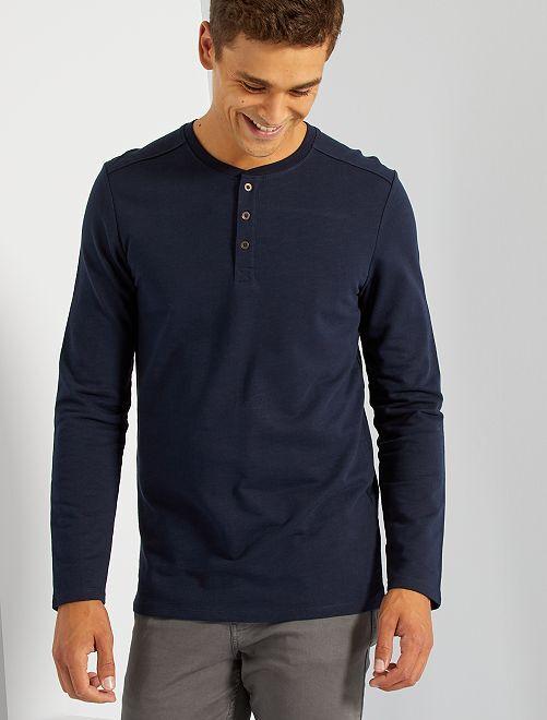 T-shirt col tunisien                                                     bleu marine