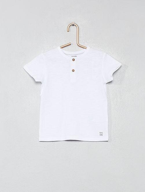 T-shirt col tunisien coton bio                                                                                                                                                                 blanc Bébé garçon