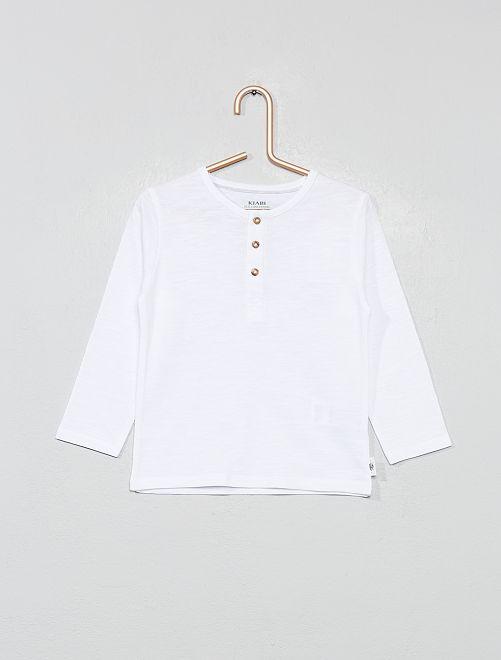 T-shirt col tunisien coton bio                                         blanc