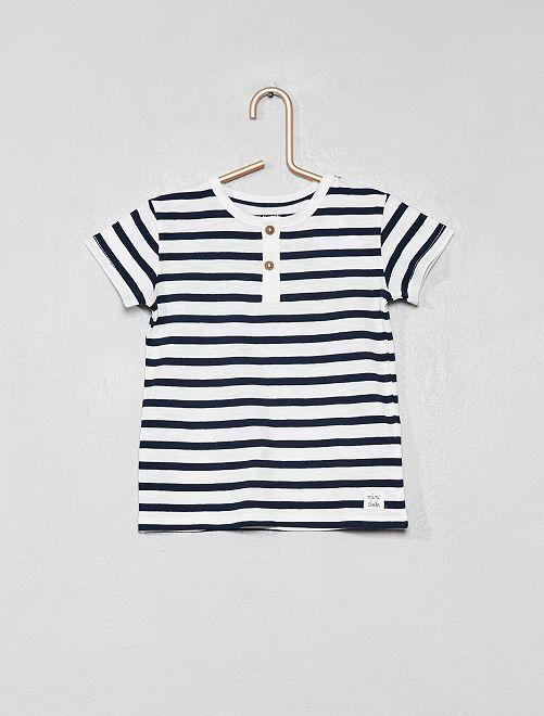 T-shirt col tunisien coton bio                                                                                                                                                     blanc rayé Bébé garçon
