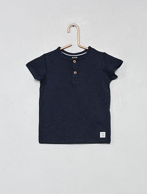 T-shirt col tunisien coton bio                                                                                             bleu marine