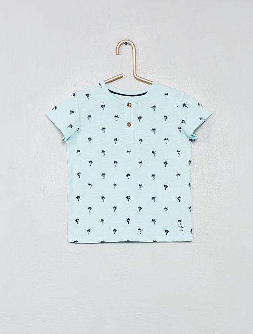 T-shirt col tunisien coton bio                                                                                                                                                                 bleu palmier Bébé garçon