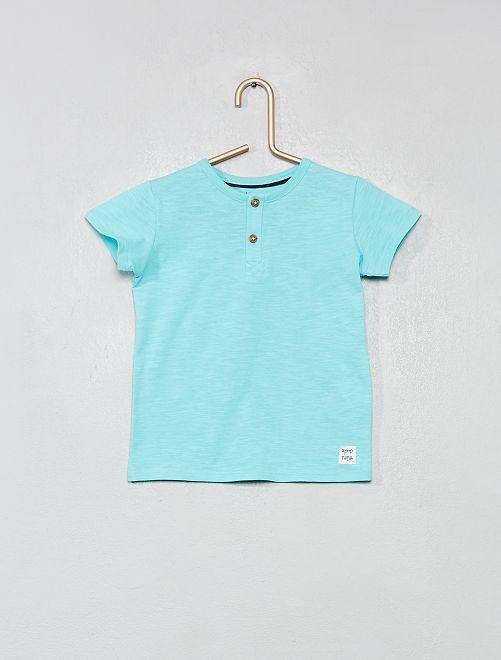 T-shirt col tunisien coton bio                                                                                                                                                     bleu turquoise Bébé garçon