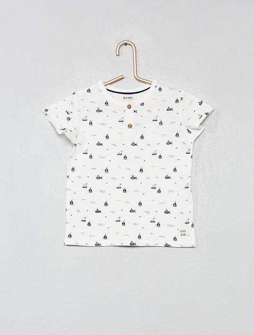 T-shirt col tunisien coton bio                                                                                                                                                     écru bateau Bébé garçon