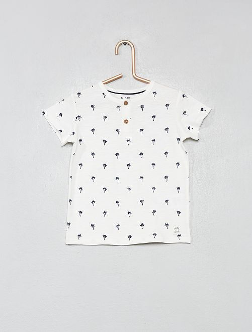 T-shirt col tunisien coton bio                                                                                                                                                                 écru palmier Bébé garçon