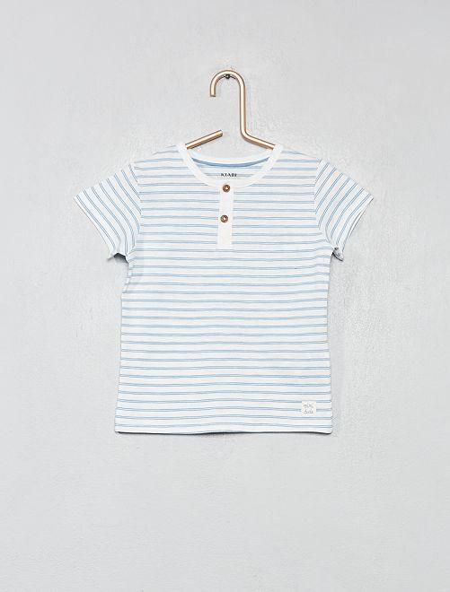 T-shirt col tunisien coton bio                                                                                                                                                                 écru rayé Bébé garçon