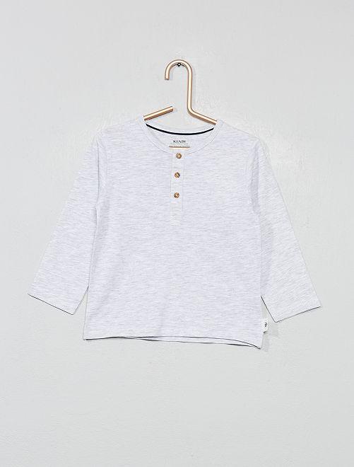 T-shirt col tunisien coton bio                                         gris