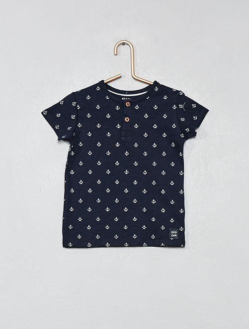 T-shirt col tunisien coton bio                                                                                                                                                     marine ancre Bébé garçon