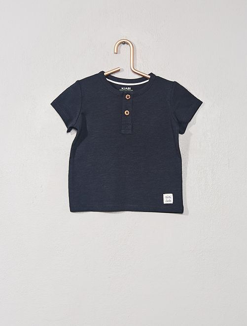 T-shirt col tunisien 'éco-conception'                                                                                                                                                                 bleu marine