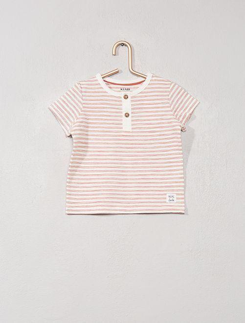 T-shirt col tunisien 'éco-conception'                                                                                                                                                                 écru rayé orange