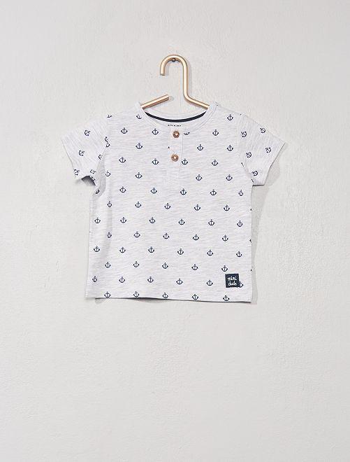 T-shirt col tunisien 'éco-conception'                                                                                                                                                                 gris chiné ancres