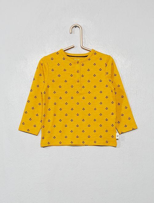 T-shirt col tunisien 'éco-conception'                                                                                                                                         jaune 'ancres'