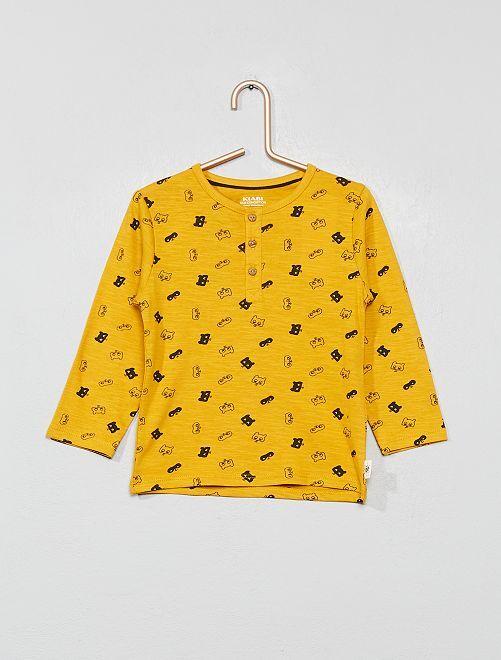 T-shirt col tunisien 'éco-conception'                                                                                                                             jaune