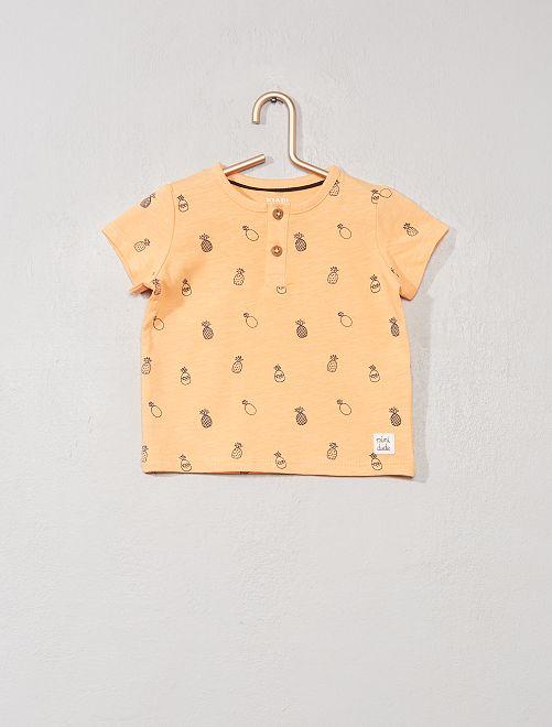 T-shirt col tunisien 'éco-conception'                                                                                                                                                                 orange ananas